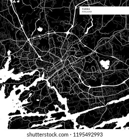 Area map of Turku, Finland with typical urban landmarks like buildings, roads, waterways and railways as well as smaller streets and park trails. Removable city label placed on top.
