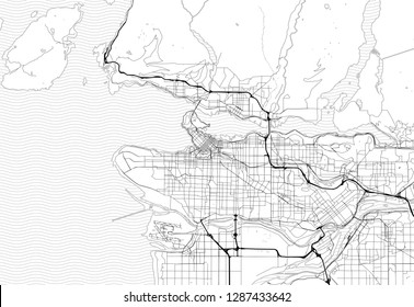 Area map of Vancouver, Canada. This artmap of Vancouver contains geography lines for land mass, water, major and minor roads.
