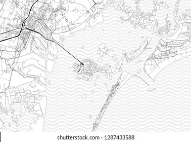 Area map of Venice, Italy. This artmap of Venice contains geography lines for land mass, water, major and minor roads.