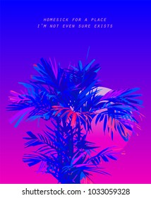 Areca palm leaves on bright neon sunset background in 80's / vaporwave theme