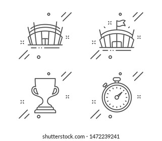 Arena, Award cup and Arena stadium line icons set. Timer sign. Sport stadium, Trophy, Sport complex. Stopwatch gadget. Sports set. Line arena outline icon. Vector
