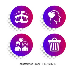 Arena, Couple love and Friend icons simple set. Halftone dots button. Trash bin sign. Sport stadium, People in love, Garbage. Business set. Classic flat arena icon. Vector