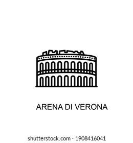 Arena Di Verona, Italy, Verona landmark icon in vector. Logotype