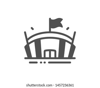 Arena with flag sign. Sports stadium icon. Sport complex symbol. Classic flat style. Simple arena icon. Vector