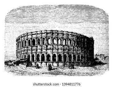 The Arena of Nîmes a Roman amphitheater during the time of Emperor Caesar Augustus structure is designed in an enclosed ellipsis vintage line drawing or engraving illustration.