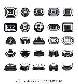 Arena stadium sport football venue icons set. Simple illustration of 25 arena stadium sport football venue vector icons for web
