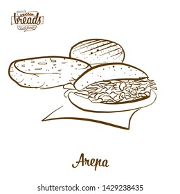 Arepa bread vector drawing. Food sketch of Cornbread, usually known in South America. Bakery illustration series.