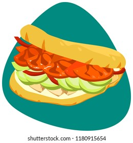Arepa with chicken meat, avocado, tomatoes on green background