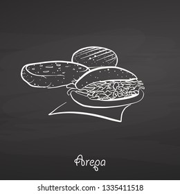 Arepa food sketch on chalkboard. Vector drawing of Cornbread, usually known in South America. Food illustration series.