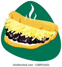 Arepa with white cheese and black beans on green background