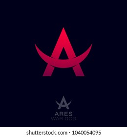Ares logo. Greek war god of the emblems. Red letter A with bull horns.