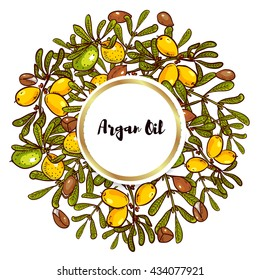 Argan banner in eco-style in natural colors. Argan flyer design layouts. Leaflet for cosmetics, medicine, ecology, bio products.