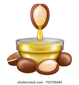 Argan nut with oil dropping into a glass bowl. Vector illustration.