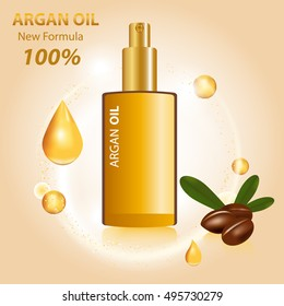 Argan Oil Bottle and Nuts. Vector Illustration.