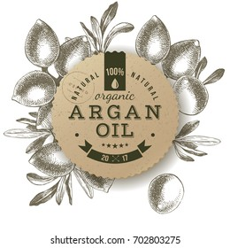 Argan oil label with type design over hand drawn nuts background. Vector illustration
