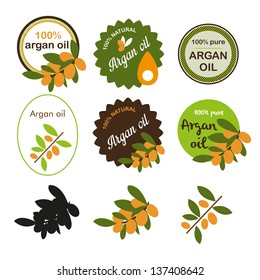 Argan oil labels and elements