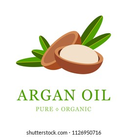 Argan oil skin care cosmetic. Argan seeds, for the production of oil. Very nutritious for skin and hair. Packaging design template and emblem