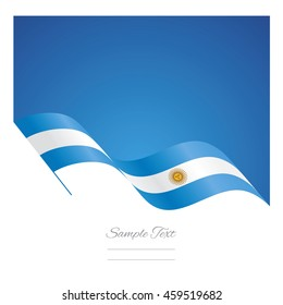 Argentina abstract wave flag ribbon vector background