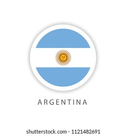 Argentina Button Flag Vector Template Design Illustrator