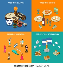 Argentina culture traditions and national  cuisine dishes for tourists 4 isometric icons square poster isolated vector illustration