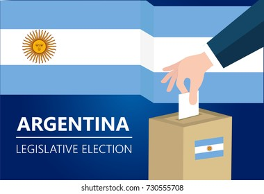 Argentina democracy political process selecting president or parliament member with election and referendum freedom to vote vector illustration