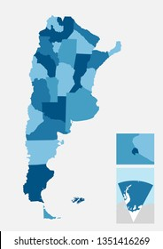 Argentina detailed country map with separated provinces easy to ungroup. Includes antarctic territory and zoom to capital city, Buenos Aires.
