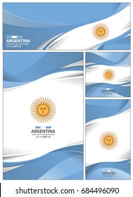 Argentina flag abstract colors background. Collection banner design. brochure vector illustration.