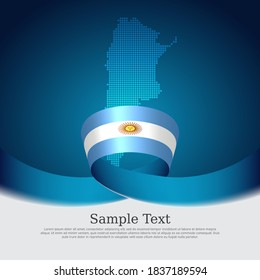 Argentina flag background. Mosaic map, argentina flag on a blue white background. National poster. Vector banner design. State patriotic flyer, business cover