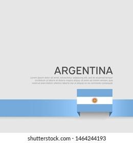 Argentina flag background. National poster. Ribbon argentina flag colors on white background. Vector flat banner design. State patriotic flyer, cover