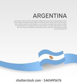 Argentina flag background. National poster. Wavy ribbon argentina flag colors on white background. Vector banner design. State patriotic flyer, cover