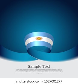 Argentina flag background. Wavy ribbon argentina flag colors on a blue white background. National poster. Vector banner design. State patriotic flyer, cover