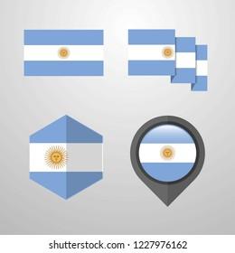 Argentina flag design set vector