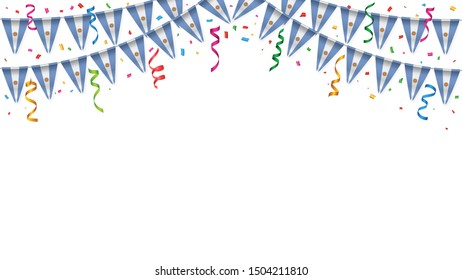 Argentina flag garland white background with confetti, Hang bunting for Argentinian independence Day celebration template banner, Vector illustration