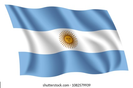 Argentina flag. Isolated national flag of Argentina. Waving flag of the Argentine Republic. Fluttering textile argentine flag.