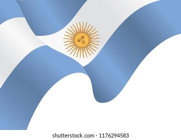 Argentina flag, National flag of Argentina Background, Waving flag of the Argentine Republic, Vector illustration