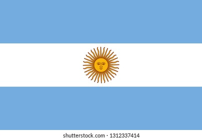 Argentina flag. Official proportion. Correct colors. Vector illustration