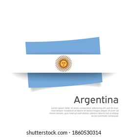 Argentina flag in paper cut style. Creative background for Argentina patriotic holiday card design. National Poster. Argentinian state patriotic cover, flyer. Vector design