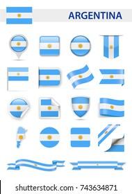Argentina Flag Set - Vector Illustration