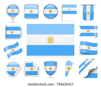 Argentina Flag Set - Vector Illustration