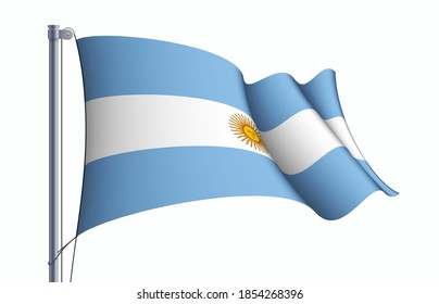 Argentina flag state symbol isolated on background national banner. Greeting card National Independence Day of the Argentine Republic. Illustration banner with realistic state flag.