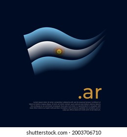 Argentina flag. Stripes colors of the argentinian flag on a dark background. Vector stylized design national poster with ar domain, place for text. State patriotic banner of argentina, cover