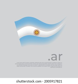 Argentina flag. Stripes colors of the argentinian flag on a white background. Vector stylized design national poster with ar domain, place for text. State patriotic banner of argentina, cover