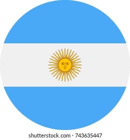 Argentina Flag Vector Round Flat Icon - Illustration
