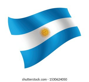 Argentina flag waving isolated vector illustration