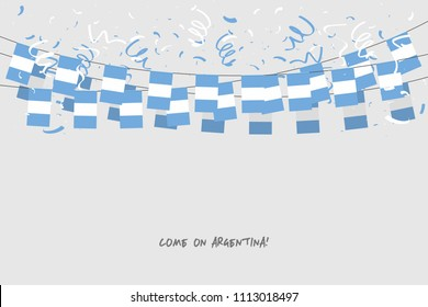 Argentina garland flag with confetti on gray background, Hang bunting for Argentina celebration template banner. vector