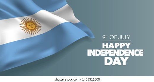 Argentina happy independence day greeting card, banner with template text vector illustration. Argentinian memorial holiday 9th of July design element with  flag with stripes and sun