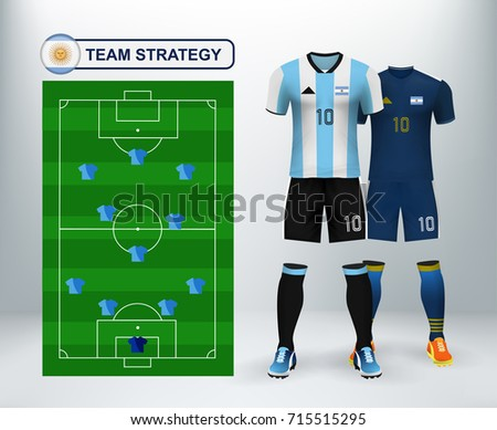 e95dd144999 Argentina home and away soccer jersey kit set with team statistics board on  backdrop. Concept