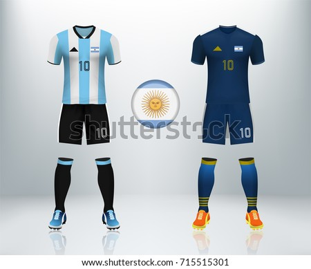 aadf0260b Argentina home and away soccer jersey kit set on backdrop. Concept for  soccer uniform in