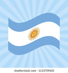 Argentina Independence Day. 9 July. Flag of Argentina. Concept of a national holiday. Sun of May. Rays from the center. Event name.