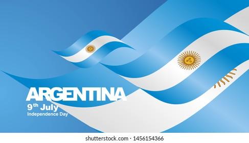 Argentina Independence Day flag ribbon landscape background